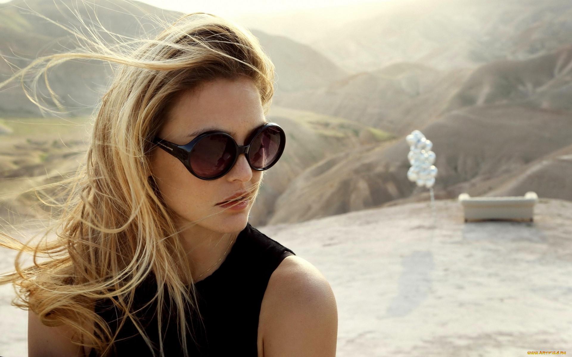 девушки, bar rafaeli, модель, блондинка, лицо, очки, горы, ветер